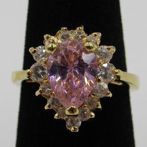 Vintage Estate Size 6 Sterling Pink CZ Band Ring